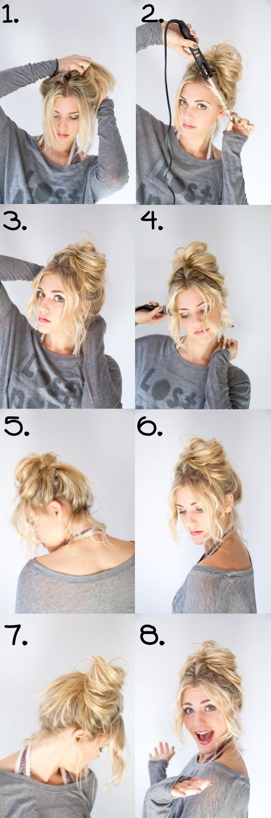 Good links on the website, especially the brunette's (Promise's) messy updo tutorial