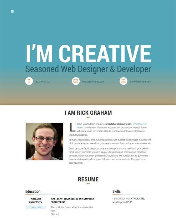 this resume and cv wordpress theme has a one page design a responsive layout