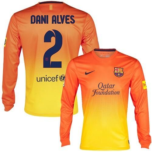 Barcelona #2 Dani Alves Long Sleeves Away Soccer Club Jersey! Only $22.50USD