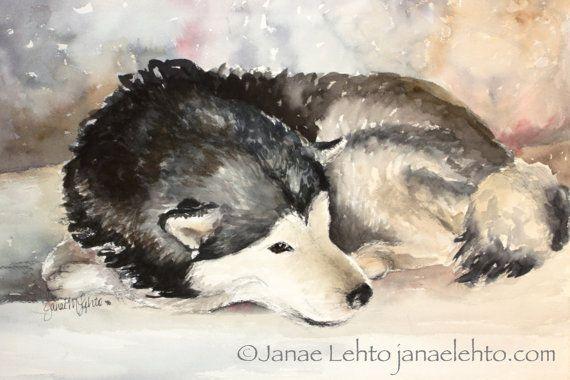 Alaskan Malamute Dog Watercolor Print