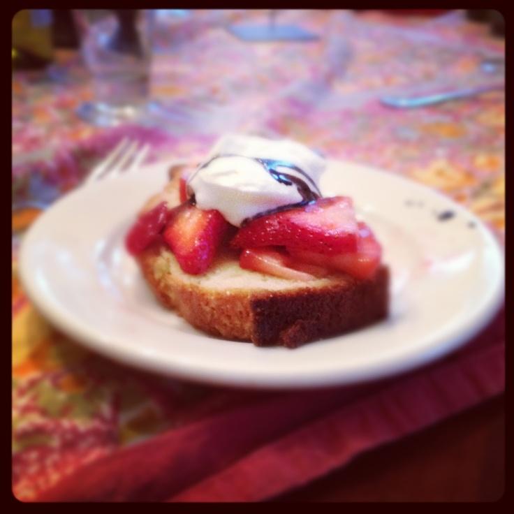 Strawberry shortcake with balsamic from Caroline's Kitchen Table @caroline k. Shields: Caroline Kitchens, Kitchen Tables, Tables Caroline, Kitchens Tables