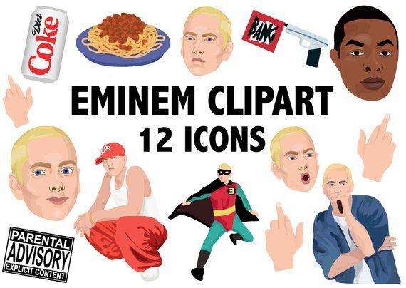 Eminem Clipart Hiphop Clipart Slim Shady Marshall Mathers Rap Clipart Hip Hop Icons Rapper Clip Art Dr Dre Eminem Art Instant Download Produk