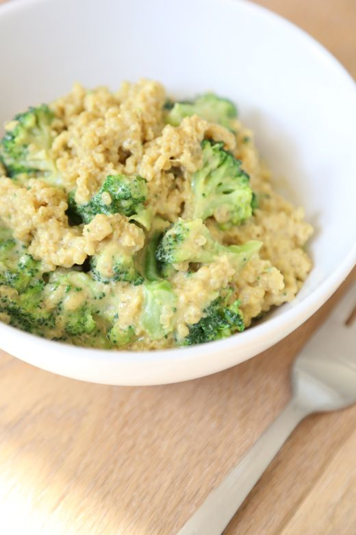 "Single Serving Vegan (Quinoa) Mac & Cheese! Warm fluffy quinoa and steamed broccoli coasted in a vegan ""cheese"" sauce made from nutritional yeast, almond milk, dijon, and other goodness! #vegan #recipe #healthy"