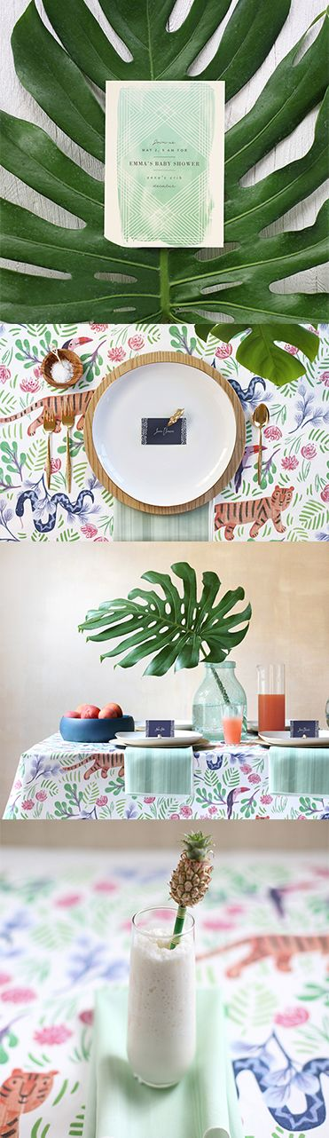 Gender Neutral Baby Shower Idea: Tropical Jungle Shower Theme with matching invitation, decor and dessert + beverage options from Minted.com