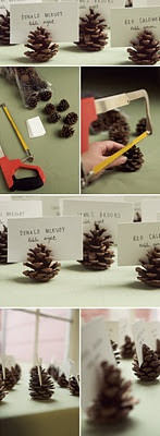 Pine cone seating card holders for a fall or winter wedding.
