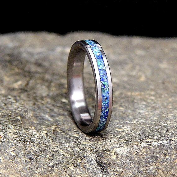 Titanium Wedding Band Or Ring Azurite With Hint Of By