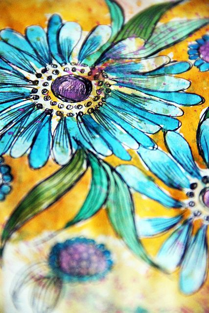 Gorgeous turquoise color; ink doodle by Alisa Burke