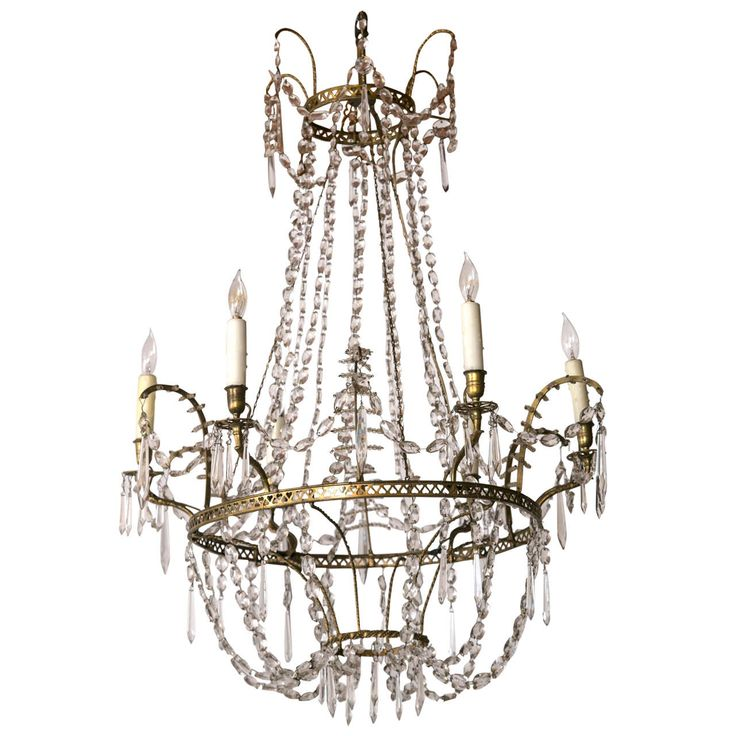 Baltic Neoclassical Bronze and Crystal Chandelier, circa