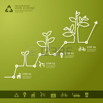 tree chart: Green economy concept - Leafs and tree infogaphics