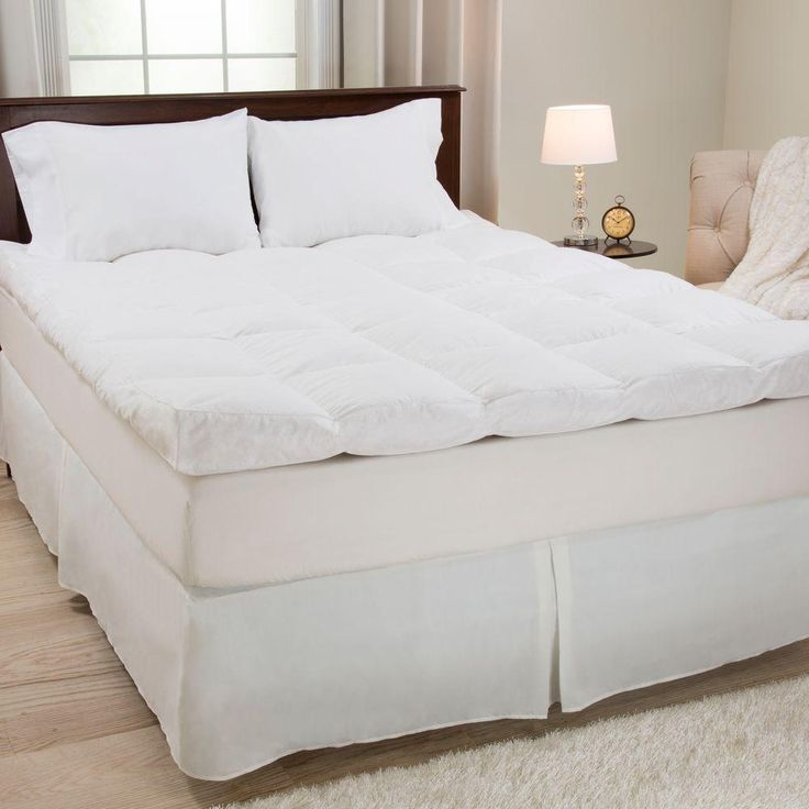 Full Size 4 in. H Down and Duck Feather Mattress Topper, White