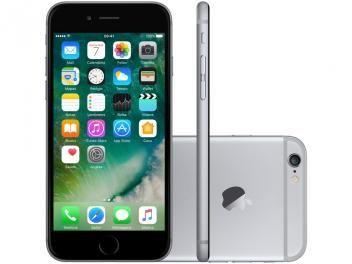 "iPhone 6 Apple 16GB Cinza Espacial Tela 4,7"" - Retina 4G Câmera 8MP + Frontal iOS 10 Proc. M8"