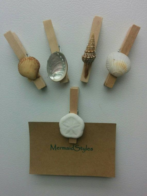 Beach Decor Shell Magnets Seashell Clothespins by MermaidStyles