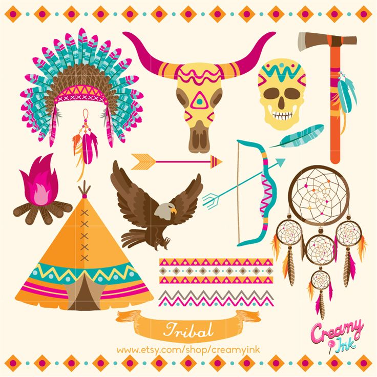 Tribal digital clip art featuring tipi, bow & arrow, eagle, skull, dreamcatcher and many more. #clipart #vector #design See more at creamyink.etsy.com