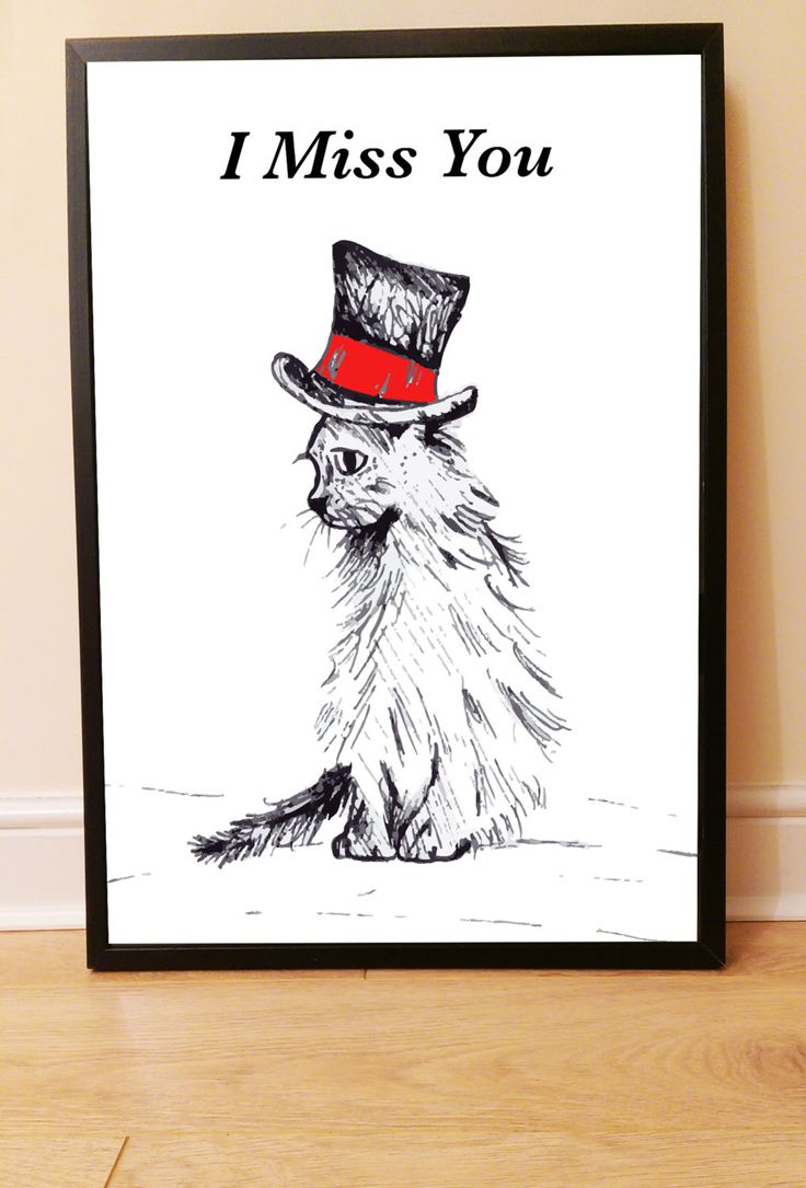 New to drknice on Etsy: Printable File: Cat in Hat 'I Miss You' Instant Download Art Wall Deco Drawing Sad Alone (3.00 GBP)