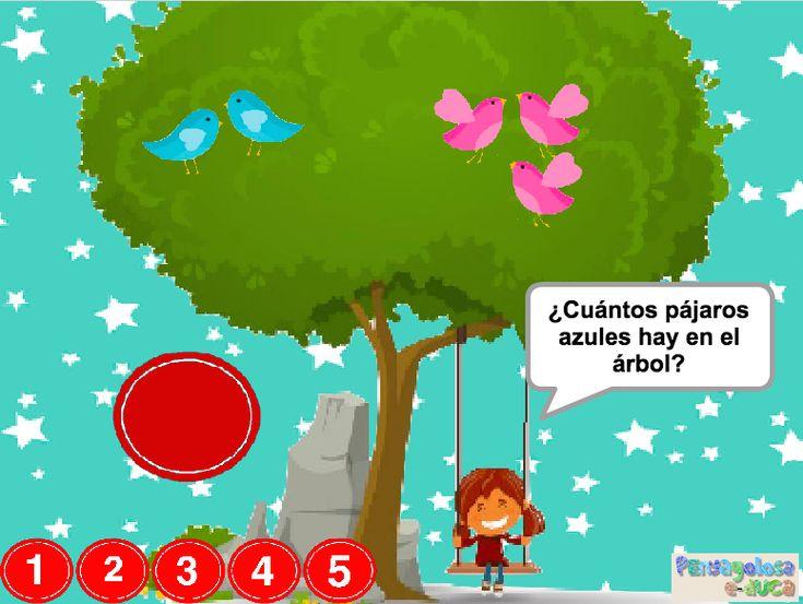 ABN – RESOLUCIÓN PROBLEMAS – NIVEL 1 – ¿Cuántos pájaros hay en el árbol? (1-5) – En este juego se trabaja la resolución de problemas de combinación 1. En el juego aparecen una cierta cantidad de pájaros de dos colores distintos. El jugador/a debe establecer cuantos pájaros de cada color hay y posteriormente determinar cuantos pájaros hay en total.