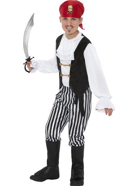 Lasten naamiaisasu; Piraattipoika. Poikien piraatti naamiaisasu on hieno asukokonaisuus, joka varmasti on pienten merirosvosankareiden mieleen. Tämännäköinen merirosvo on taatusti kapteenin valiojoukkoa ja ei epäröi taistella tilanteen niin vaatiessa. Halutessasi voit asustaa naamiaisasua oheistarvikkeilla. Sisältää: - paita - housut - kengänpäälliset - päähuivi - vyö