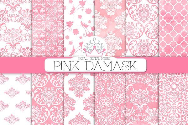 PINK DAMASK digital paper - Patterns