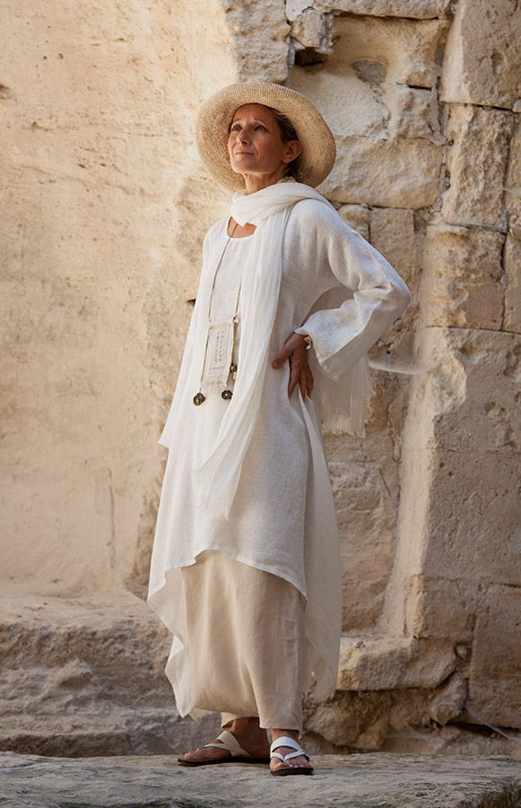 Loose fit off white linen veil tunic and sand beige linen sarouel-skirt, linen gauze scarf  AMALTHEE CREATIONS