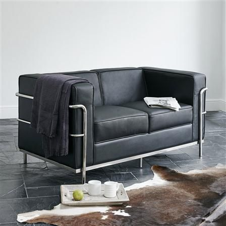 Wallace Sacks, 2 Seater Sofa, Black Leather
