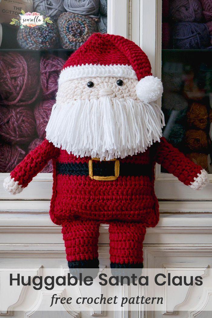 Crochet the huggable Santa Claus this Christmas Season! He's extra cuddly and so much fun to make! Easy beginner friendly amigurumi Free Pattern!