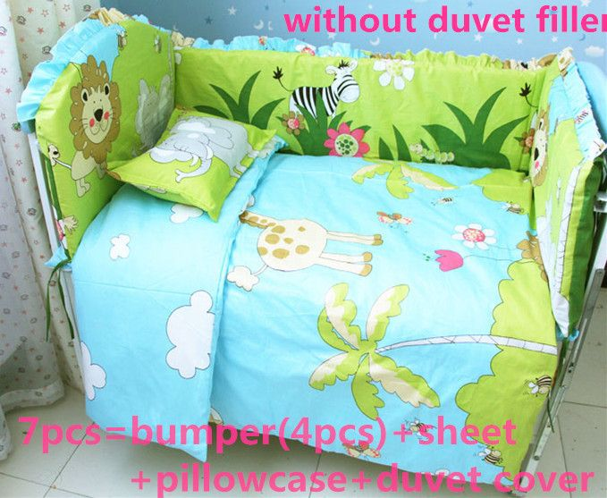 Promotion! 6/7PCS baby bedding set crib for babies bed linen,Duvet Cover,120*60/120*70cm