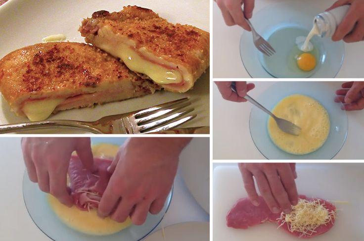CORDON BLEU MAISON - Les ingrédients : 2 à 4 escalopes de veau 1 oeuf 2 a 4 tranches de jambon blanc 4 cuillère à soupe de lait chapelure 20 gr de fromage rappé Recette présentée par FastGoodCuisine
