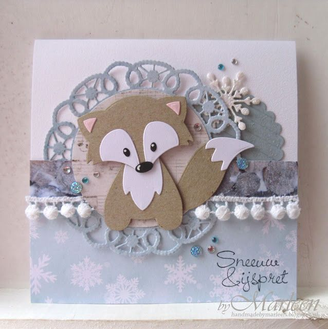 Handmade card by DT member Marleen with Collectables Fox (COL1355), Creatables Flower Doily (LR0388) and Ice Crystals (LR0393) from Marianne Design