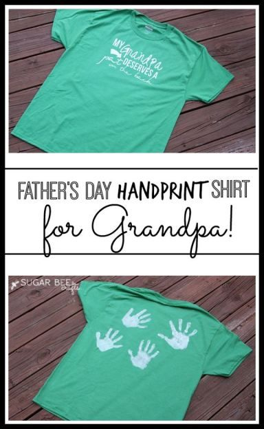 idea of how to make a diy Grandpa gift for Father's Day - love the personalization with handprints!! - Sugar Bee Crafts