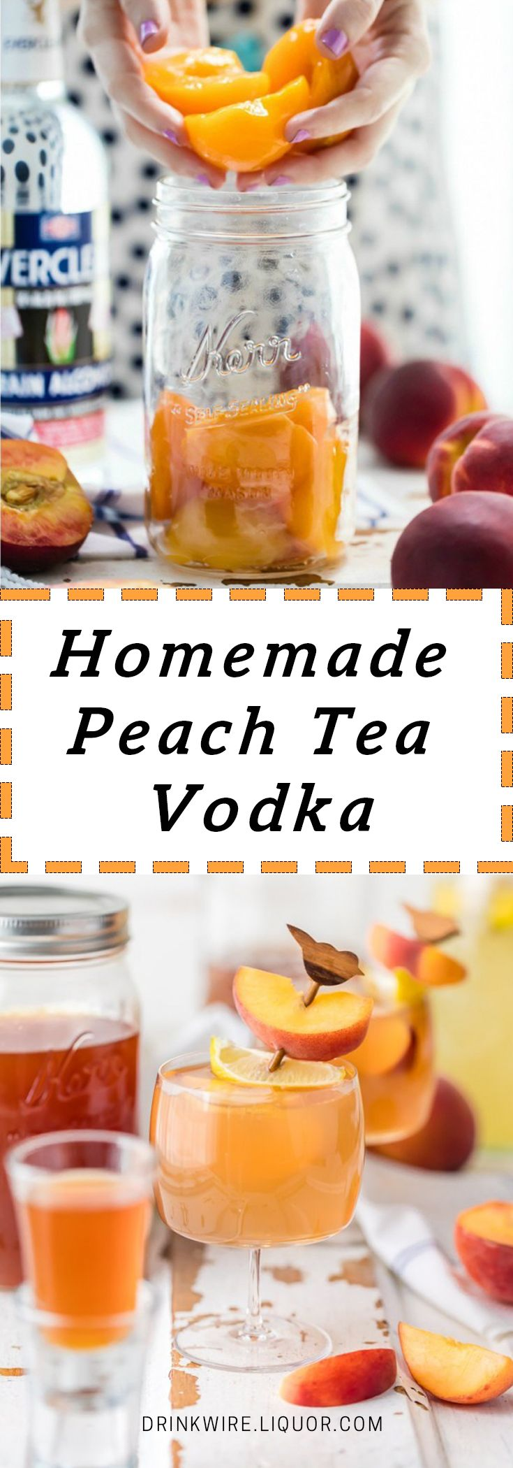 Homemade Peach Tea Vodka is an easy and fun DIY liqueur. Easily made by infusing neutral spirits with peaches and black tea, the perfect mixer for so many summer cocktails!