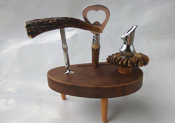 Horn deer. Set of corkscrew stopper opener cap cork for beer