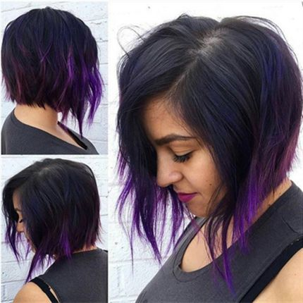howto violet accented aline bob  hair dye tips short