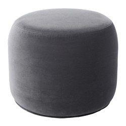 IKEA - STOCKHOLM 2017, Hocker, Sandbacka dunkelgrau, , Kann als Fußstütze, als zusätzlicher Sitzplatz oder mit einem Tablett darauf als Tisch benutzt werden.Samt ist ein weich-luxuriöser, abriebfester Stoff, der sich durch Absaugen mit einer weichen Möbelbürste leicht sauber halten lässt.Klein und handlich und daher einfach umzuplatzieren.