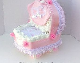 Girl Diaper Cake - Unique Baby Shower Gift or Centerpiece - Basinet - Baby…