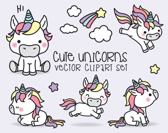 Premium Vector Clipart - Kawaii Unicorns - Cute Unicorns Clipart Set - High Quality Vectors - Instant Download - Kawaii Clipart