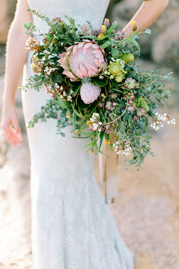 protea bouquet with wildflowers by Clementine Floral Design
