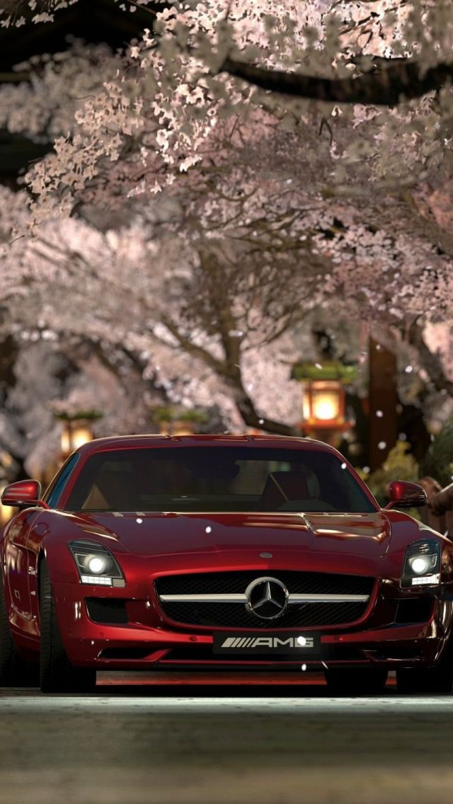 Mercedes Benz Sls Amg Red Night #iPhone #5s #Wallpaper