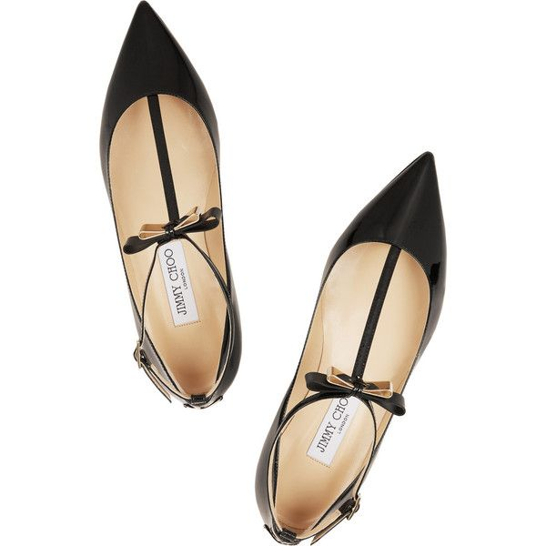 Jimmy Choo Glaze patent-leather point-toe flats (£500) ❤ liked on Polyvore featuring shoes, flats, ankle strap shoes, pointy-toe flats, black t strap flats, flat shoes and black flats