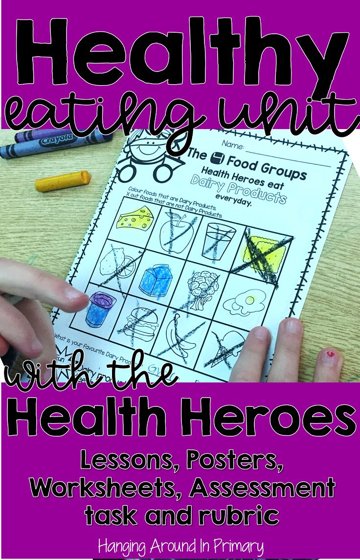 Teach your healthy eating unit with the Health Heroes.  This resource for grade 3 has everything you need to cover the healthy eating curriculum:  detailed lesson plans, worksheets, posters, food cards, assessment task and a rubric.  #healthyeatingunit #lessonplans #rubric #nutritionunit #grade3 #thirdgrade