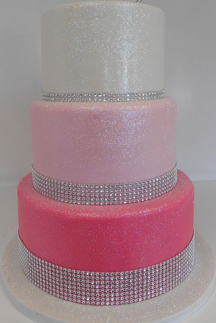 3 tiered pink bling birthday cake