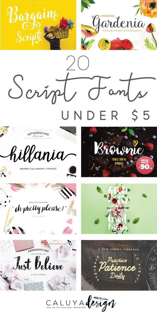 20 Stylish fonts under $5- collection of Affordable script fonts will aid you with your creative designs, such as brochure, business cards, DIY craft project with Cricut, Silhouette studio cutting machines, logo designs, typography and calligraphy designs.