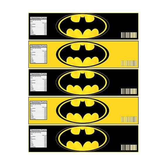 INSTANT DOWNLOAD Batman Bottle Label - Digital File - for BATMAN party ...