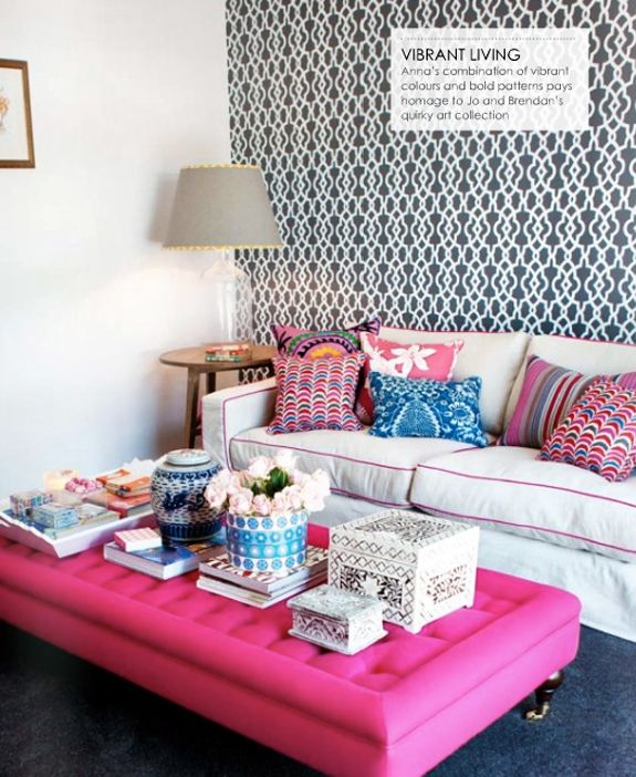 pink ottomanDecor, Coffee Tables, Living Spaces, Colors Pattern, Blue Room, Interiors, Colors Mixed, Living Room, Pink
