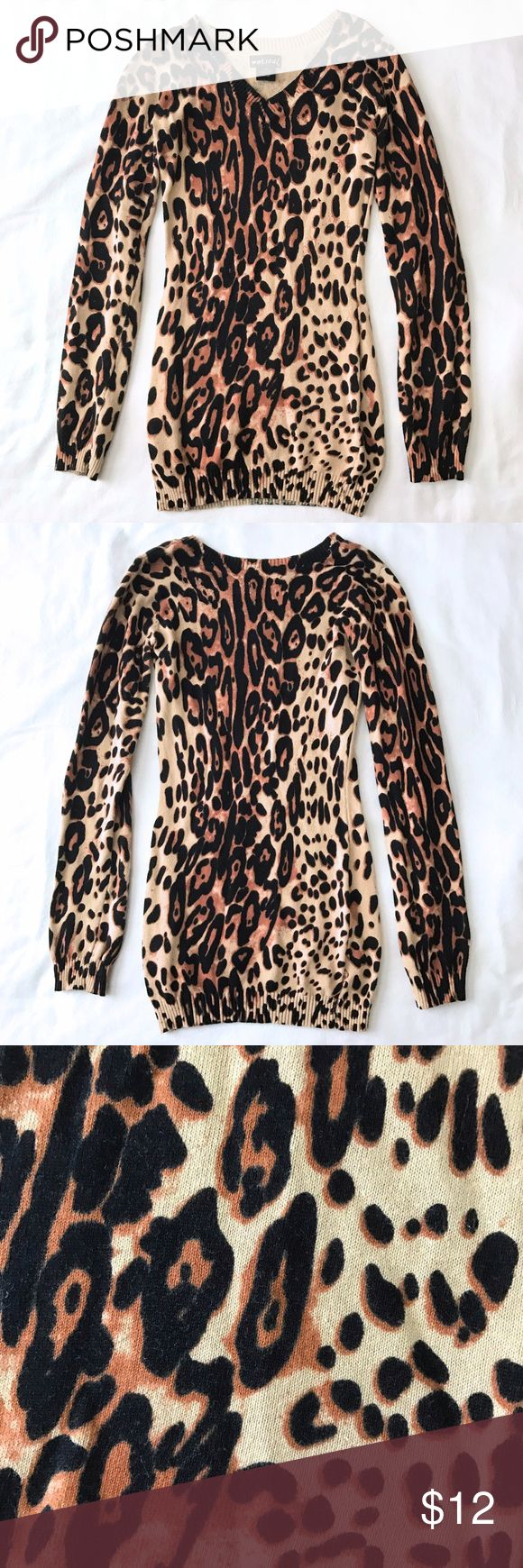 Selling this EC Wet Seal Leopard V-neck Knit Sweater XS on Poshmark! My username is: mih03. #shopmycloset #poshmark #fashion #shopping #style #forsale #Wet Seal #Sweaters