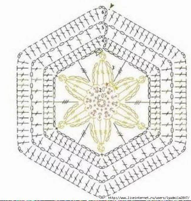 Шестиугольные мотивы крючком со схемами фото 24
