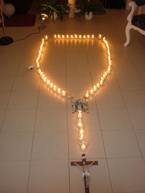 candle rosary...kids would enjoy taking turns blowing the candles out after each Hail Mary.