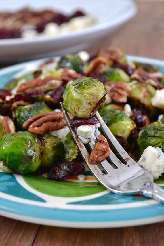 Cranberry Pecan Brussel Sprouts// roasted, coated in balsamic and topped with blue cheese