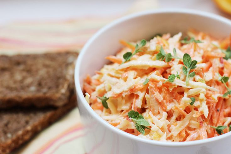 Apple and carrot salad with orange dressing
