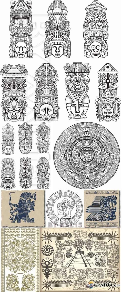 Symbols of aztec and maya