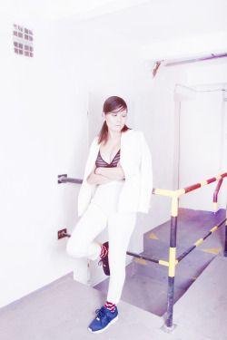 Project: Escape     photo: Valentýna Janů  hair: Kateřina Muratová  styling: Alice Reindlová  MUA: Renee Vidourková  model: Lenna Mai     #fashion #editorial #projecttraining #escape #adidasoriginals #adidas #ZXFlux #happysocks