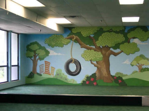 Contemporary kids playroom with city park wall murals for Church mural ideas